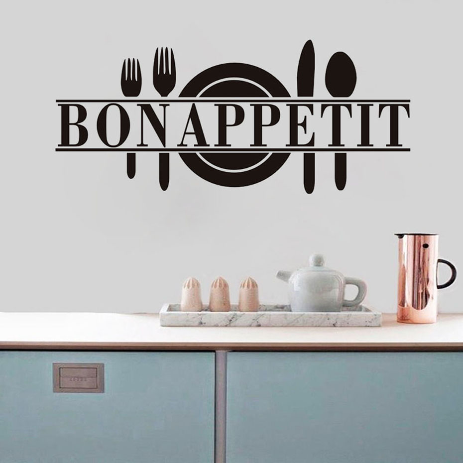 Bon Appetit Modern Home Decor autoadhesivo vinilo etiqueta de la pared para cocina comedor DIY Wallpaper Waterpoof pared arte murales