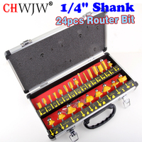 24PCS 1 4 6 35mm Shank Tungsten Carbide Router Bit Set Wood Woodworking Cutter Trimming Knife