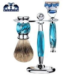 Grandslam 5 слоев лезвие ручной Безопасная бритва Для мужчин Подарочный набор бритвы держатель стенд лучший Барсучий ворс, щетка для бритья, под...