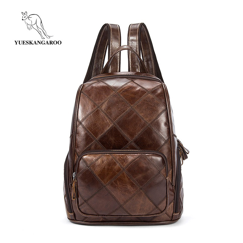 YUESKANGAROO Backpack High Quality Genuine Leather Mochila Escolar School Bags For Teenagers Girls Top-handle Backpacks Fashion fashion women backpack high quality pu leather mochila escolar school bags for teenagers girls top handle backpacks