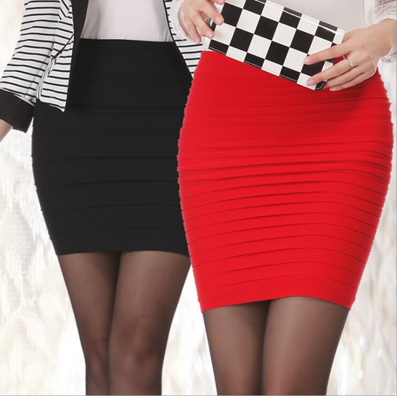 VIIANLES Sexy Skirt Pleated Pencil Skirts Summer Women High Waist Package Hip Black Red Elastic Office Mini Skirt Candy Color