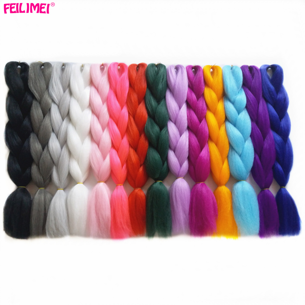 Hair Braids Feilimei Gray Jumbo Braiding Hair Extension Synthetic Kanekalon Hair 100g/pc Purple/blue/blonde/black Ombre Crochet Braids Hair