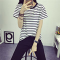Spring summer 2016 Korean large code shirt female fat mm summer leisure loose striped short sleeved women half sleeve