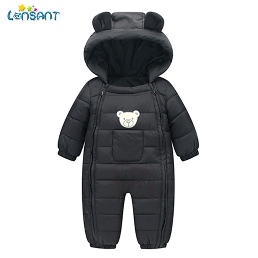 LONSANT   Rompers   Baby Winter Pockets Hooded Baby Boy Clothes Dos Desenhos Animados Menina Infantil Children'S Winter   Rompers   N30