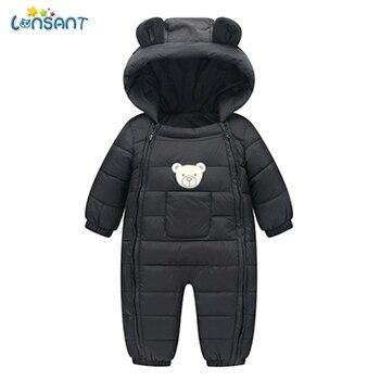 Macacão de inverno do bebê com capuz bolsos de inverno do bebê roupas de menino dos desenhos animados infantil crianças macacão de inverno n30