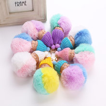 Sleeping Baby Doll Keychain Foot Doll Pompom Fake Rabbit Fur Ball Key Chain Car Keyring Women Key Holder BagCharm Jewelry(China)