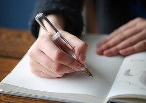 Image 5 - Moonman wancai transparente branco portátil mini palma caneta de tinta curta, viagem caneta de tinta irídio ef/f nib moda escrita presente conjunto