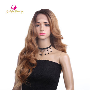 Image 3 - Golden Beauty 26 inches Long Loose Wave Wig Side Part Ombres Synthetic Hair Lace Front Wigs for Women