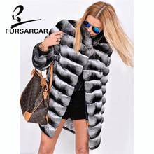 FURSARCAR New Style Winter Real Fur Coats Women Natural Rex Rabbit Jacket With Collar Thick Warm Luxury Female Coat