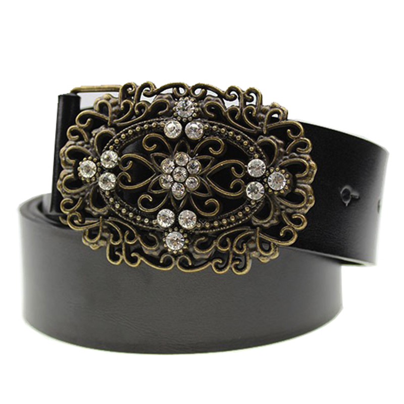 Summer Buckle Diamond Belt Fashion Brand Wide Belt Women Pearl Retro Kvinder Leather Belt Ægte Med Rhinestones Tidsbånd