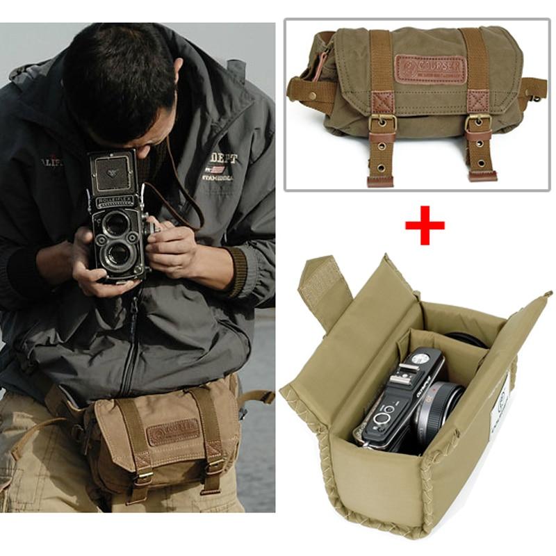 Roadfisher Small Vintage Canvas Waterproof Camera Waist Travel Bicycling Bag Insert Pack Fit Canon Nikon Sony Pentax Dslr Slr Dslr Slr Camera Waistcanon Nikon Sony Aliexpress