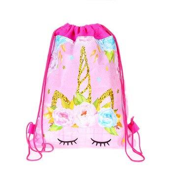Fashion Drawstring Bag 3D Printing Unicorn Drawstring Backpack Women daily Casual Girl's knapsack Drawstring Bags Kids12pcs/Lot фото