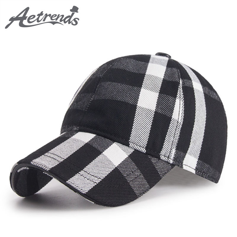 [AETRENDS] 2018 New Cotton Plaid Baseball Cap Men Women 6 Panel Snapbacks Outdoor Sport Hats Polo Caps Z-6288 fashion new women s hat lace beanie crystal direction hats for women autumn winter outdoor thin caps sport beanies