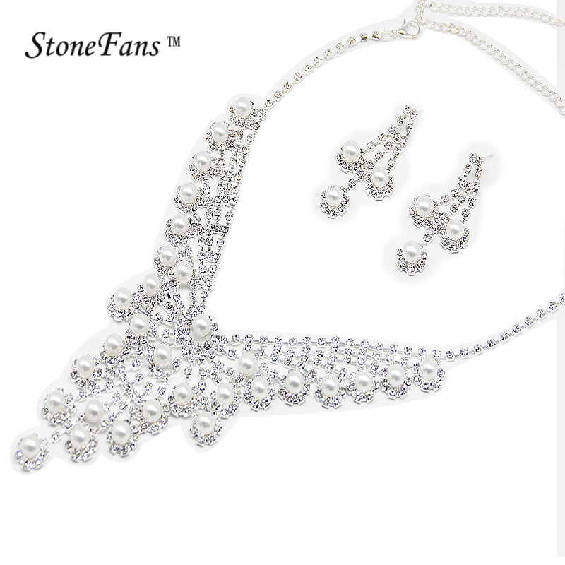 African Beads Jewelry Set Round Bridal Silver Color Turkish Jewelry Sets Vintage Women Accessories Jewelery Trendy Pearl Sets