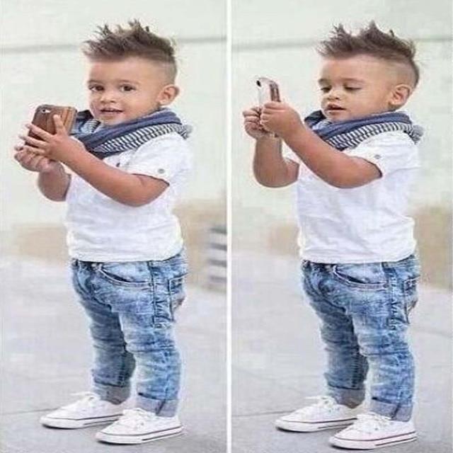 Boys denim clothing sets kids boys handsome short-sleeved T-shirt+denim jeans+scarf 3 pieces children clothing set YAZ059F