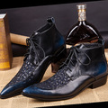 Botas de los hombres 2015 de La Moda de Cuero Genuino En Punta Remache de La Personalidad Masculina Botas de Moda Las Botas Zapatos Mujer Botas Masculinas Gaotong