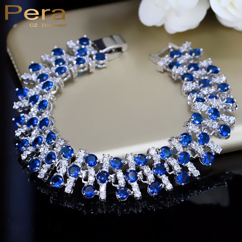 Pera CZ Elegant Royal And White Stone Jewelry 925 Sterling Silver Blue Cubic Zirconia Big Bracelets & Bangles For Women B034