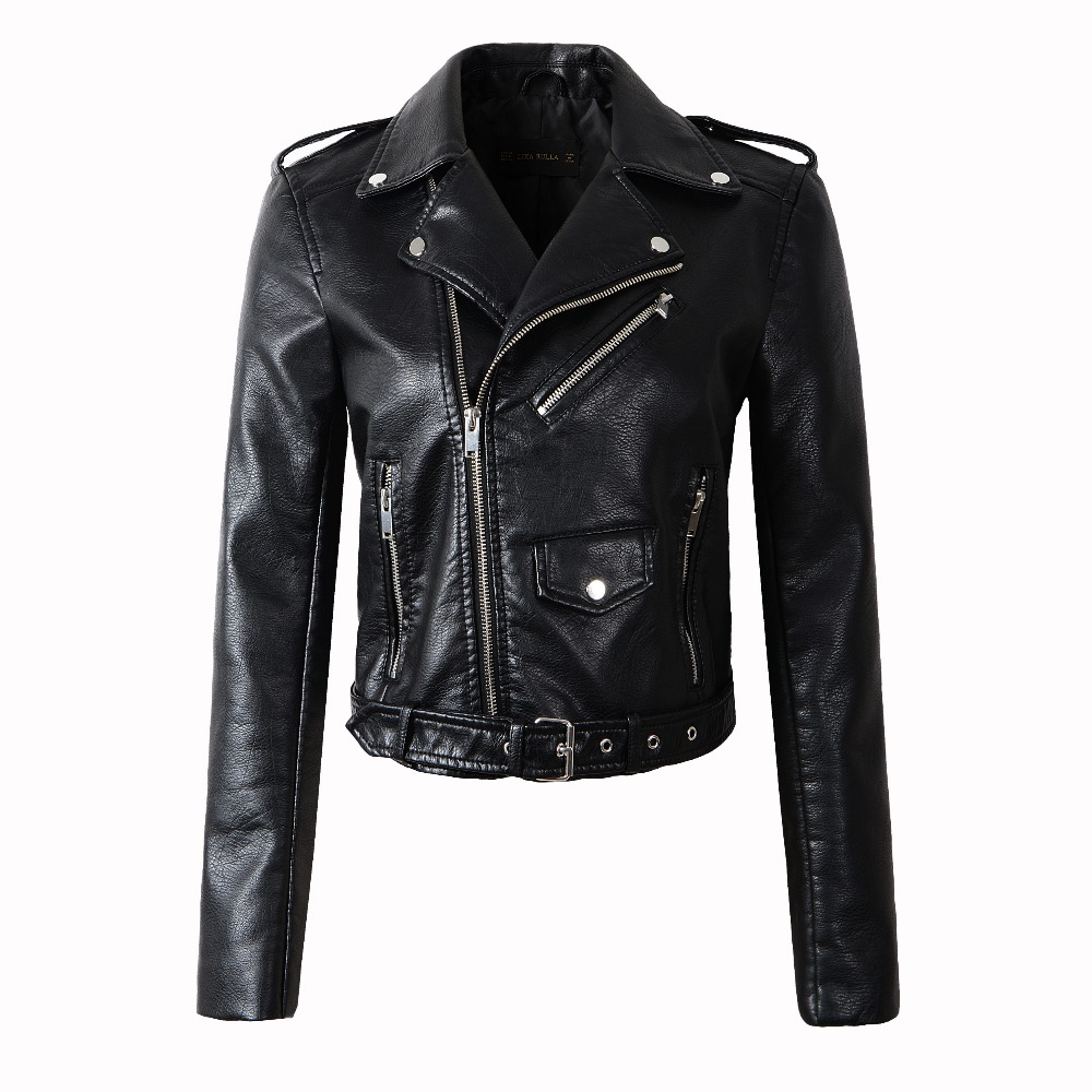 HOT! Free shipping women   Leather   jacket 2019 autumn slim   leather   coat PU motorcycle jacket ladies army black   leather   jacket coat