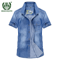 Europe Men Summer Casual Brand High Quality 100 Cotton Cowboy Short Sleeve Shirt Man Denim Blue