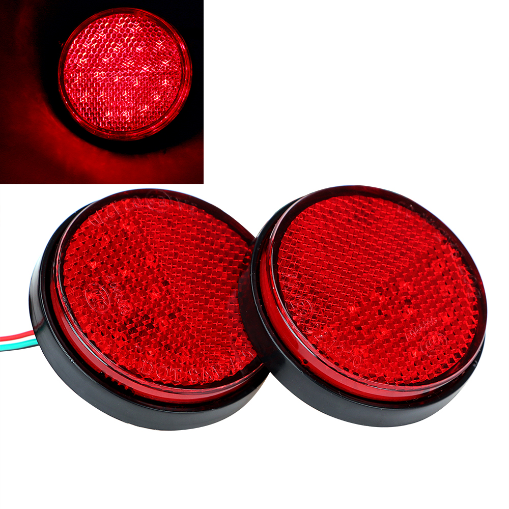 2pcs Round Brake Stop Lamp Car-styling Car LED Tail Bumper High Quality Red Truck Reflector Light Motorcycle Rear Light