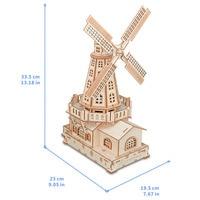 Mry crianças presente de aniversário moinho de vento woodcraft kit de construção woodcraft moinho de vento diy 3d de madeira quebra cabeça|Quebra-cab.| |  -