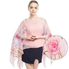Creative pearl buckle silk scarf female beach New printed chiffon sunscreen shawl