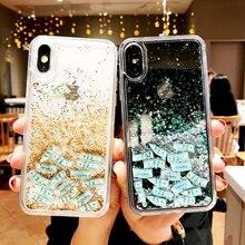 Quicksand iPhone için kılıf 7 8 X XR Xs Max Dinamik Sıvı Sert PC Için iPhone 7 8 6 6 s Artı glitter Coque ipone Çapa Capinha