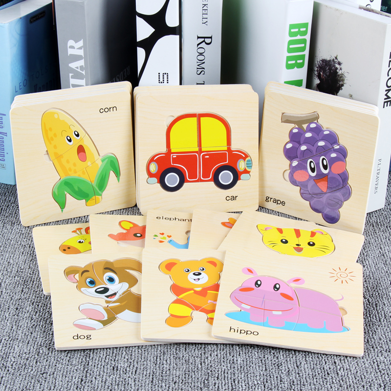 8Pcs Cartoon Wooden Animal and Transportation 3d Puzzle Jigsaw Toys For Intelligence Kids Baby Early Educational Toy