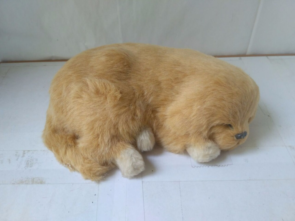 simulation breathing dog toy cute sleeping Golden Retriever doll gift about 26x20cm