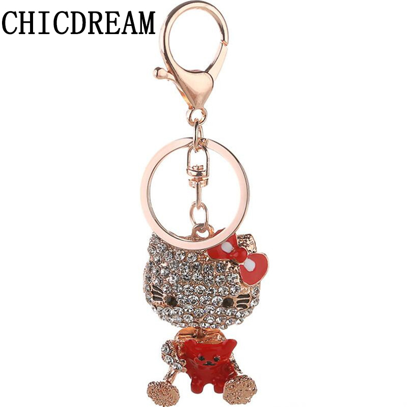 CHICDREAM 2017 Crystal Cat Keychain Novelty Souvenir Gift Couple Key Chain Keyring Hangbag Charm Pendant Chaveiros Carro