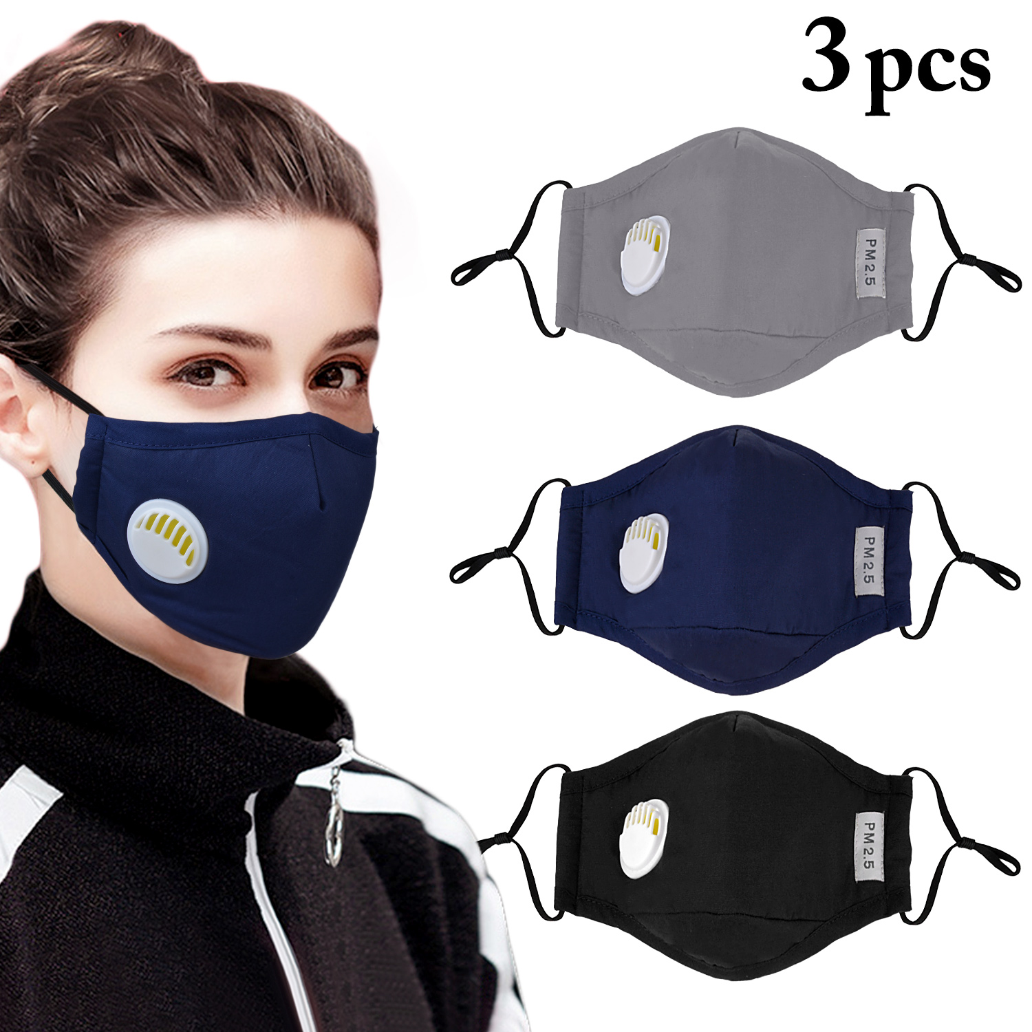 3PCS Unisex Mask Cotton Dustproof Mouth Face Mask Mouth Mask Activated Carbon PM2.5 Dust Proof Face Masks Mouth Covers Anti Dust
