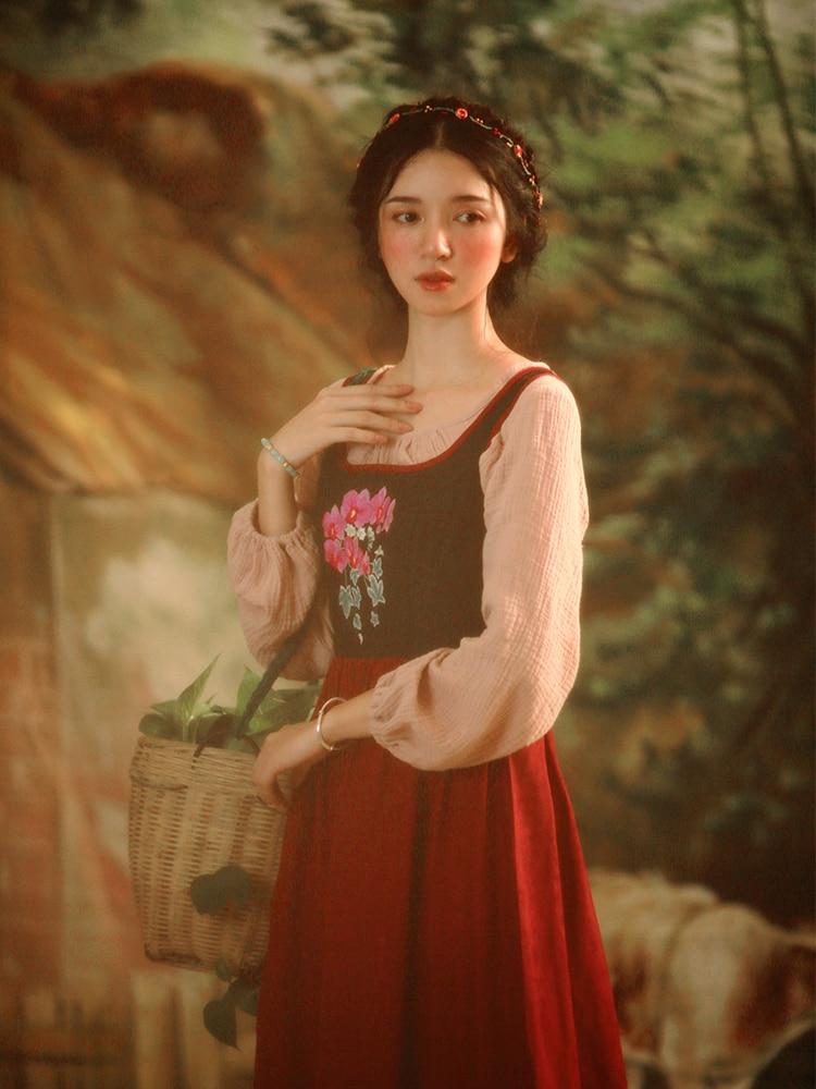 Rustique Rouge Carré Mince Lynette's Manches Originale Chinoiserie Robes Col Français Automne Broderie Sans Vintage Conception Printemps Femmes wT47axwzq