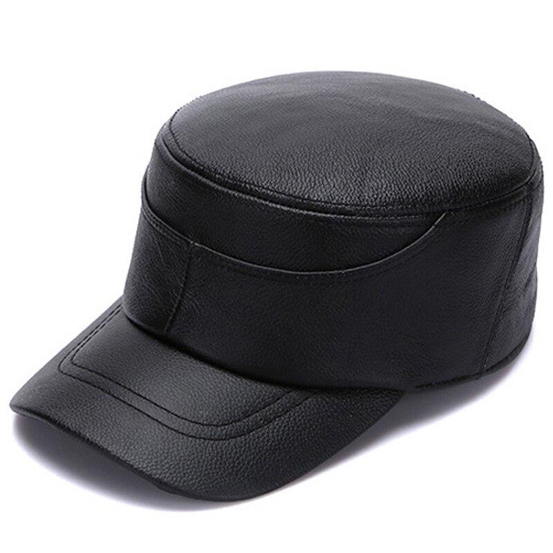 Militärhüte Kenntnisreich Svadilfari Neue 2018 Echtes Schwarz/braun Rindsleder Leder Mann Der Kappe Frauen Hübscher Militär Hüte Caps Echtem Leder Hüte