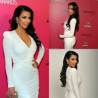 Celebrity Dresses Kim Kardashian Dress Hot Sale Sexy V Neck Long Sleeve short White satin Red Carpet Dresses