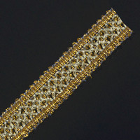 Braided Embroidered Applique Gold Metallic Embellishment Lace Ribbon Trim Sewing Suuplies for Apparel 30yard/T1305