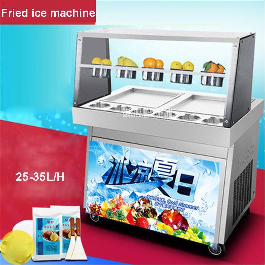 CBJ-05 220В/50Гц двойной горшок коммерческий боковой горшок жареное мороженое машина для приготовления жареного йогурта Машина льда 25-35л/ч произ... title=