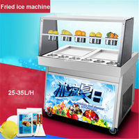CBJ 05 220V/ 50 Hz Double pot of commercial side pot fried ice cream fried yogurt machine ice ice machine 25 35L/H production