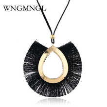WNGMNGL New Bohemia Long Statement Pendant necklace Vintage Red Black Blue Color Tassel Choker Necklace For Women Choker Jewelry long blue ribbon choker necklace