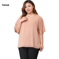 TUHAO Summer Elegant Blouses 2018 Plus Size 10XL 8XL 6XL Shirt Female Big Sizes Solid Shirts Leisure Chiffon Blouse Tops MS80