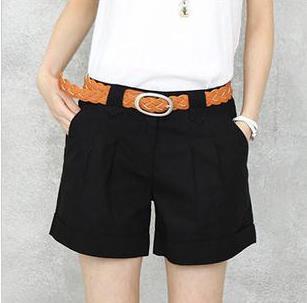 Women Plus Size100%  cotton slim shorts female summer button solid loose shorts