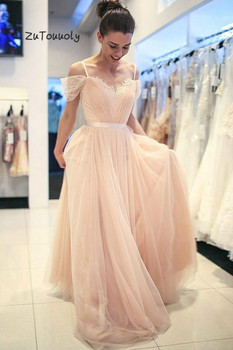 Light Pink Evening Dress Modest Long Prom Dresses Floor Length Tulle Summer Boho Evening Gowns With Lace Cheap Teen Graduation
