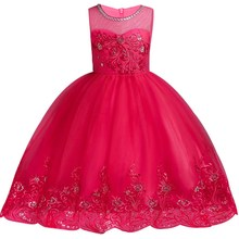 Embroidered Girls Elegant Birthday Party Dress  2-14 Years