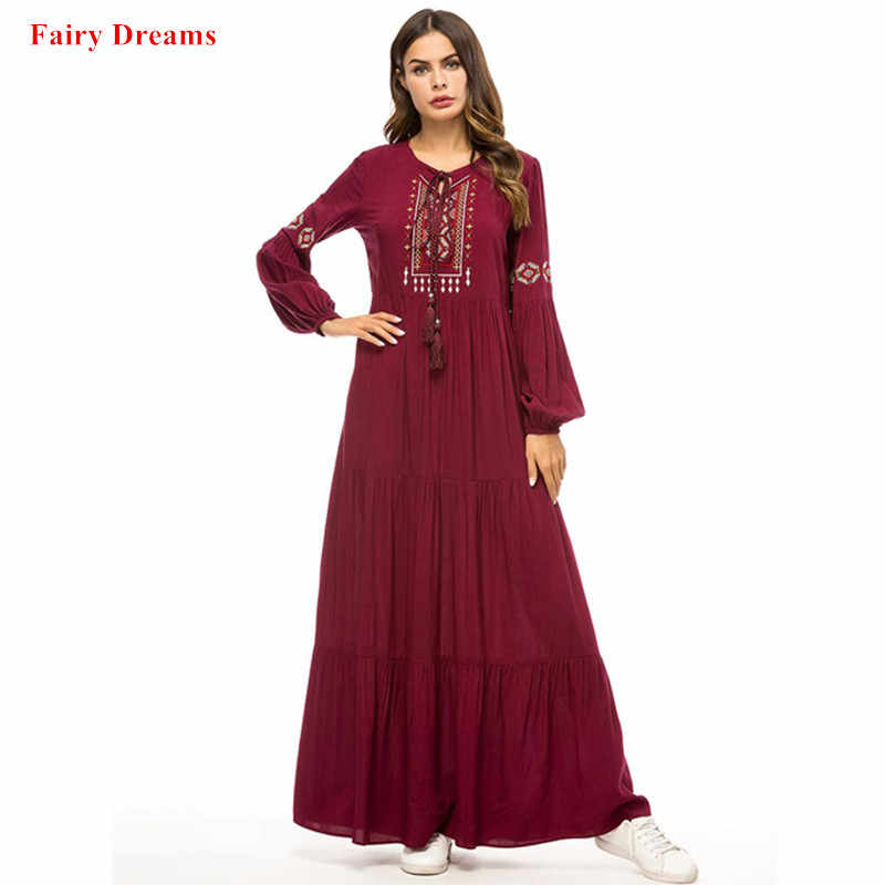 ae1a8e1da85 Abayas For Women Bangladesh Caftan Dubai Kaftan Islamic Clothing Long  Sleeve Robe Embroidery Muslim Maxi Dress
