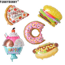 FUNNYBUNNY Hamburger Donut Hot Dog Folien ballons Birthday Party Decor Supplies Ballons