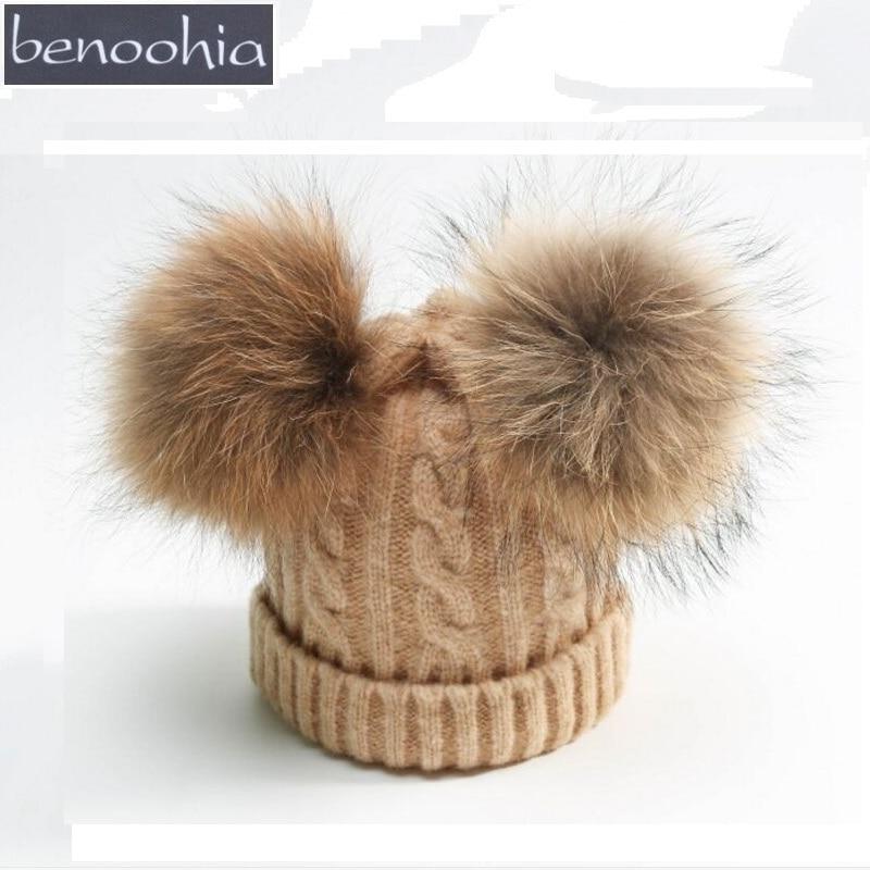 купить KNB016 Winter Children Warm Double Fur Pom pom Knitted Beanie Twist Cable Pattern Wool 2pcs Fur Ball Pompoms Knit Skullies Caps дешево