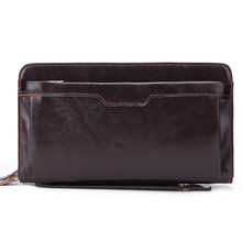 Genuine Leather Cowhide Men Clutch Bag Male Wrist Handbag Double Zippers Purse Wallet Cell Phone Cash Card Holder