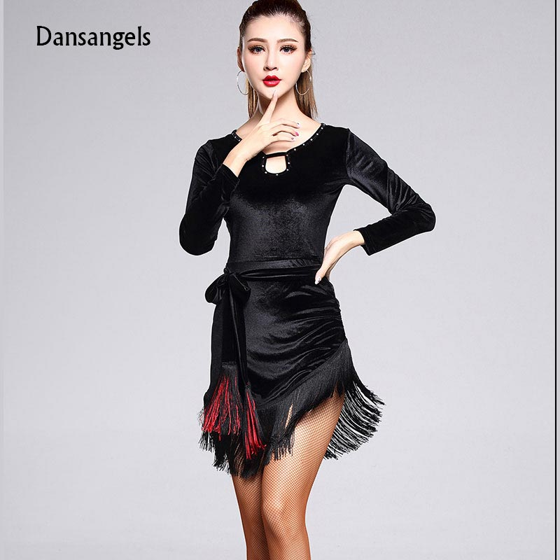 ᗜ LjഃDansangels New Ballroom Cutout Velvet Tassel Sexy Latin Dance ...