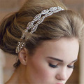 Fashion  Rhinestone Bridal Headband Crystal Wedding Hair Vine Accessories Satin Ribbon Hairband