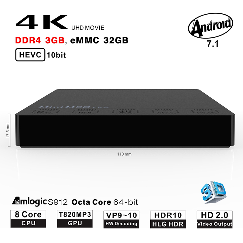 Beelink MINI M8S PRO-C TV Box 3GB+32GB Memory Storage Android 7.1 TV Box Amlogic S912 Octa Core Support 2.4G+5.8G Wifi Remote медицинбол starfit pro gb 702 цвет желтый 3 кг