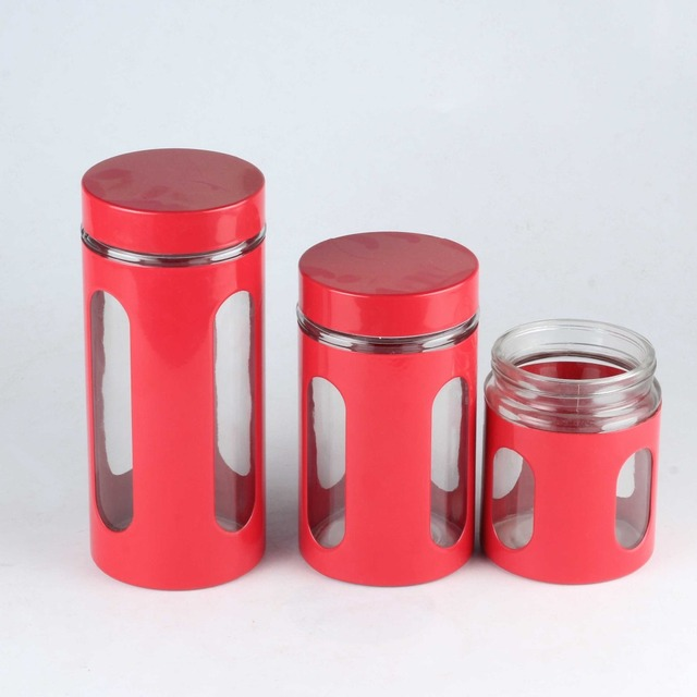 Wholesale Factory Customized MOQ 500 Sets Red Color Stainless Steel Glass  Windows Storage Container Glass Spices Jars